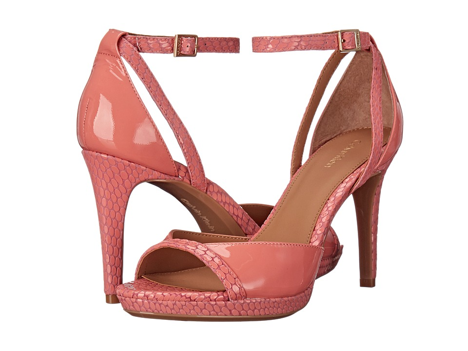 Calvin Klein - Persy (Salmon Rose Patent/Laquered Snake) High Heels