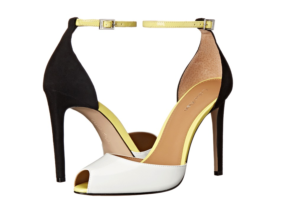 Calvin Klein - Sirena (Platinum White/Laser Lemon/Black Patent/Kid Suede) High Heels