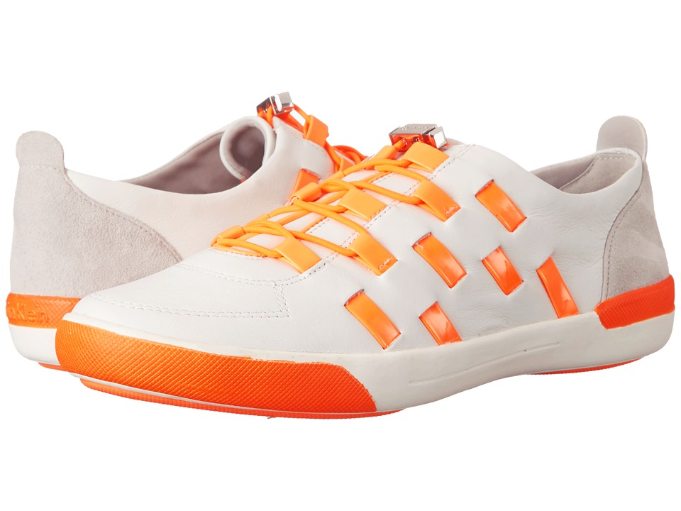 Calvin Klein - Tullie (White/Neon Orange Leather/Patent/Suede) Women's Shoes