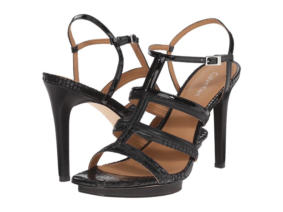 Calvin Klein - Valene (Black Leather/Snake Print Leather/Patent) High Heels