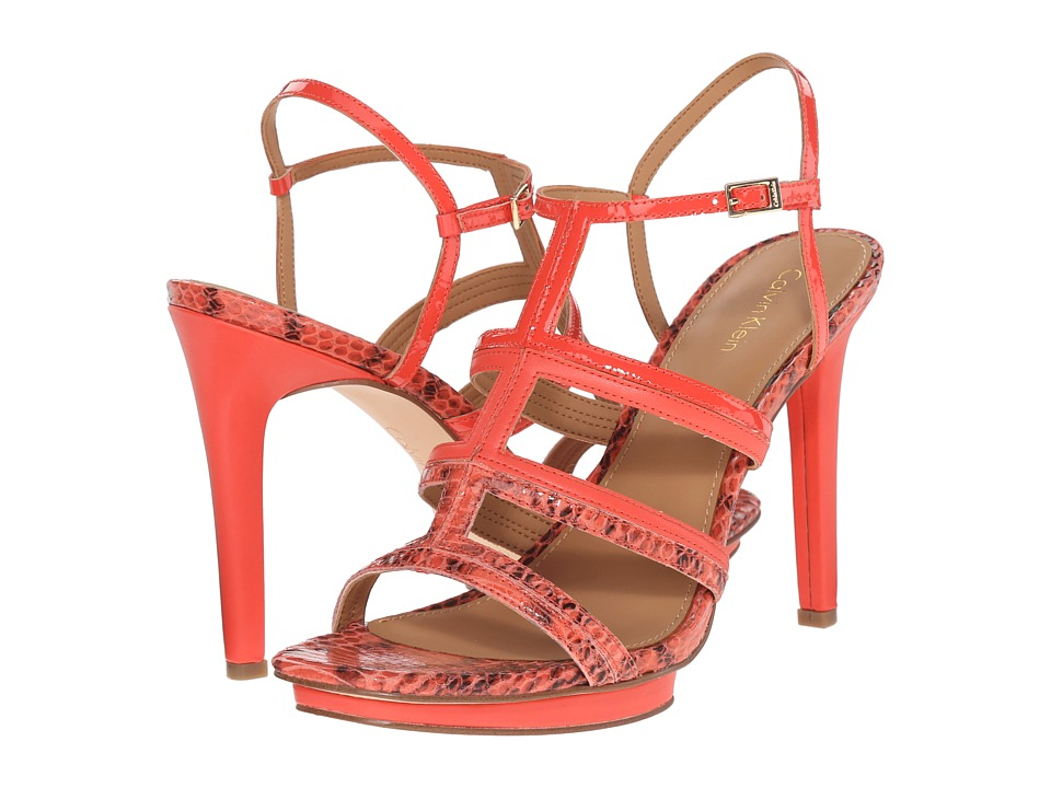 Calvin Klein Valene (Deep Coral Leather/Snake Print Leather/Patent) High Heels