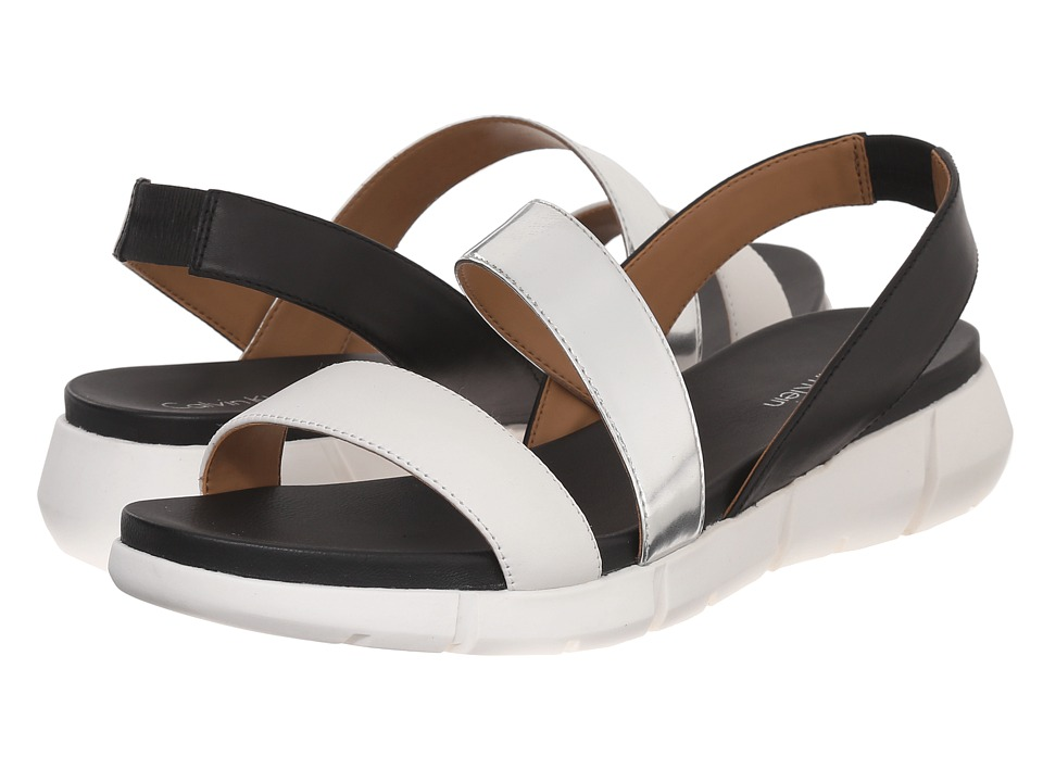 Calvin Klein - Winny (White/Silver/Black Leather/Metallic Box Leather) Women's Sandals