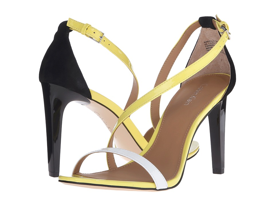 Calvin Klein - Narella (Platinum White/Laser Lemon/Black Patent/Kid Suede) High Heels