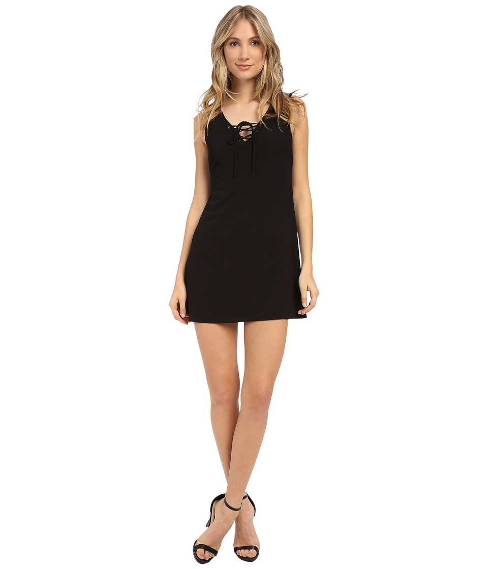 Brigitte Bailey - Solid Lace-Up Front Dress (Black) Women's Dress
