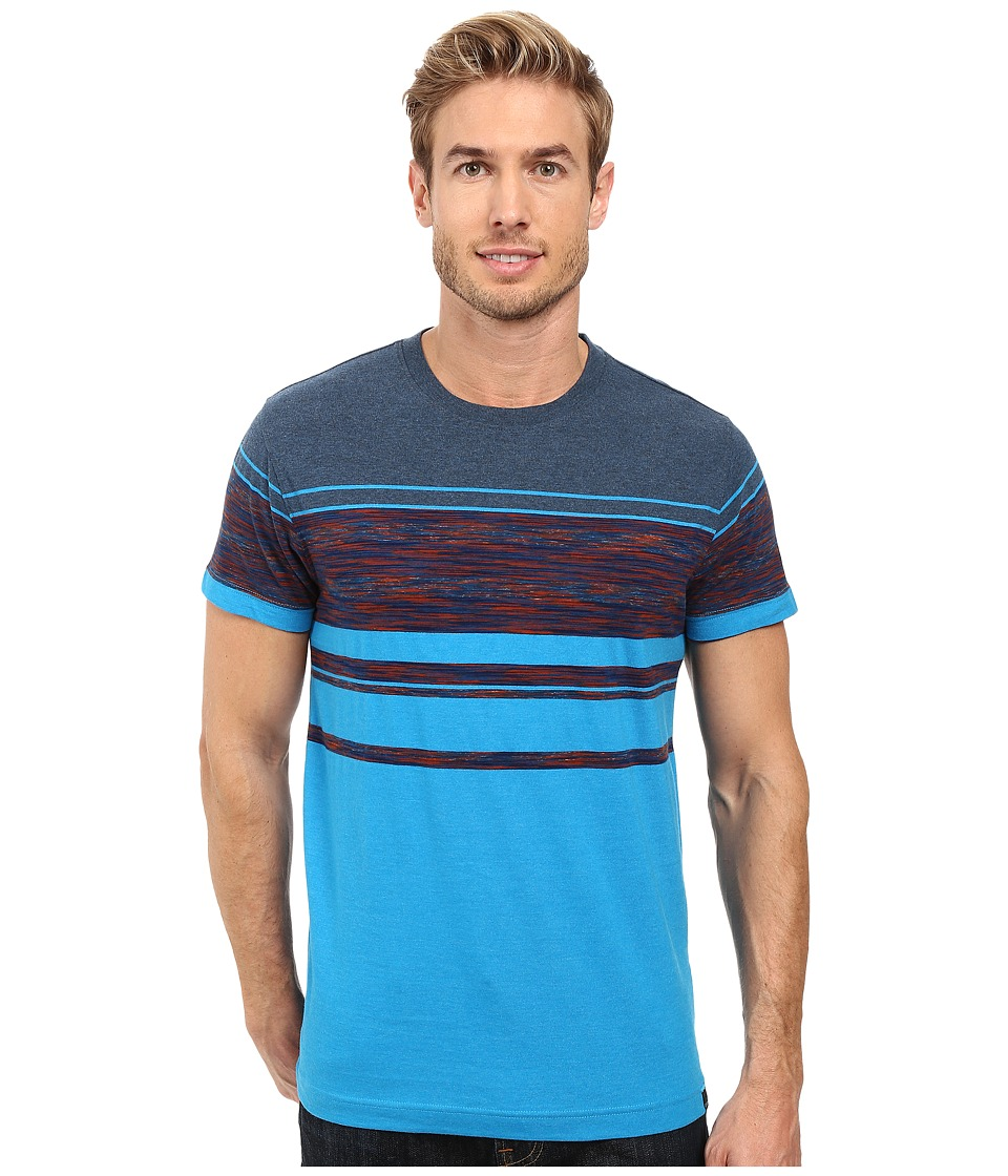 Prana - Throttle Crew (Electro Blue Stripe) Men's Short Sleeve Knit