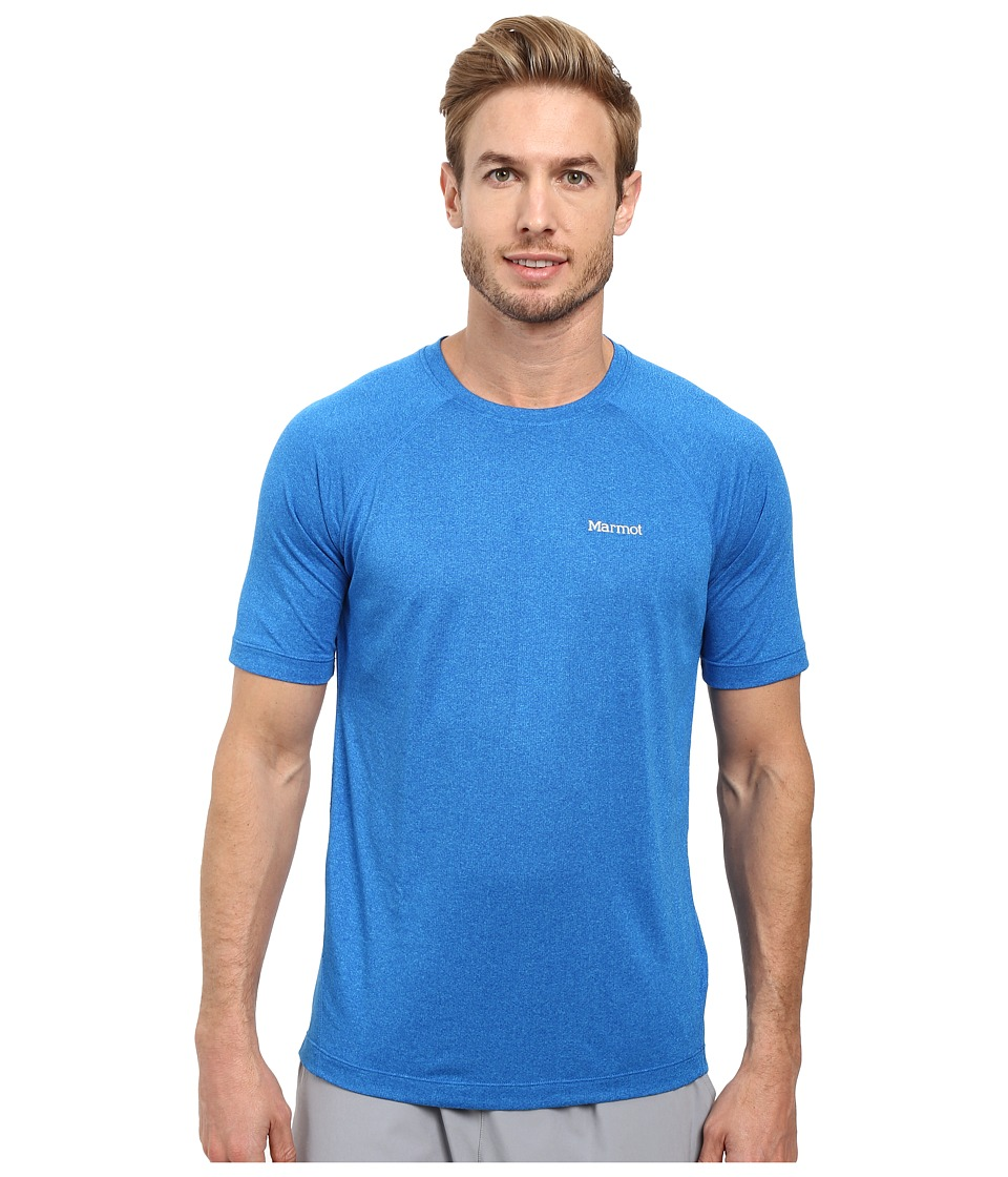 Marmot - Accelerate Short Sleeve (Bahama Blue Heather) Men's Clothing