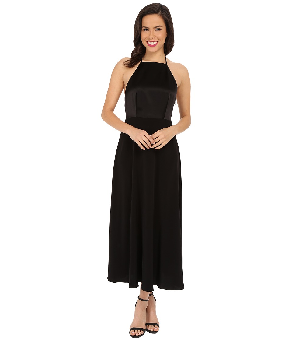 JILL JILL STUART - Sleeveless Midi T-Back Satin Back Crepe Dress (Black) Women's Dress