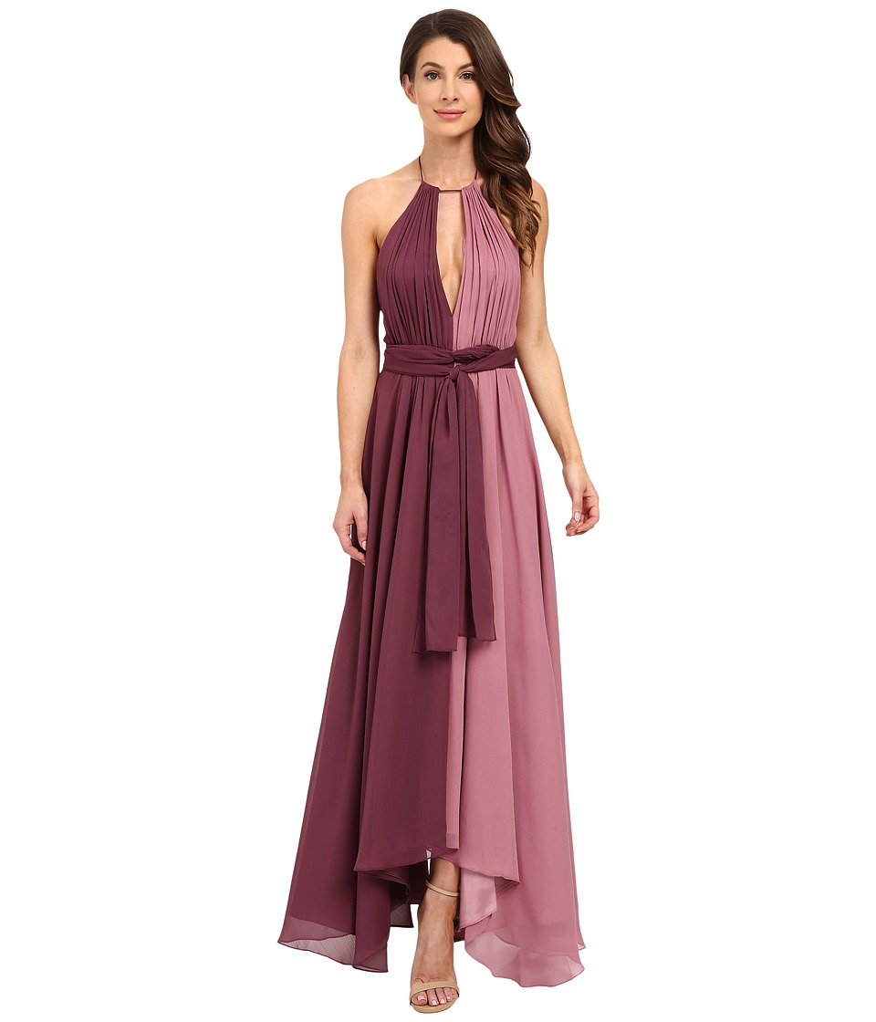JILL JILL STUART - Halter Two-Tone Crinkle Chiffon Gown (Mauve/Thistle) Women's Dress