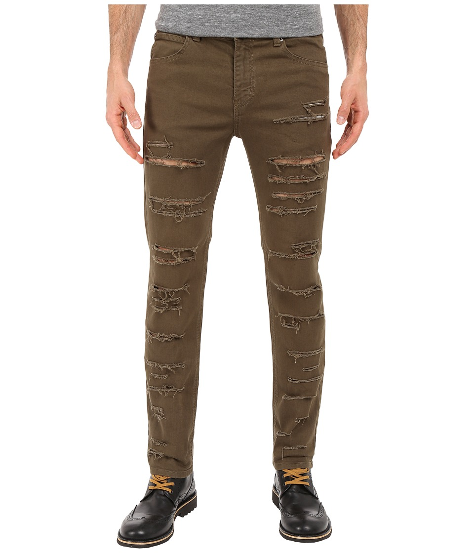 Rustic Dime - Shredded Taper Fit in Olive (Olive) Men's Jeans