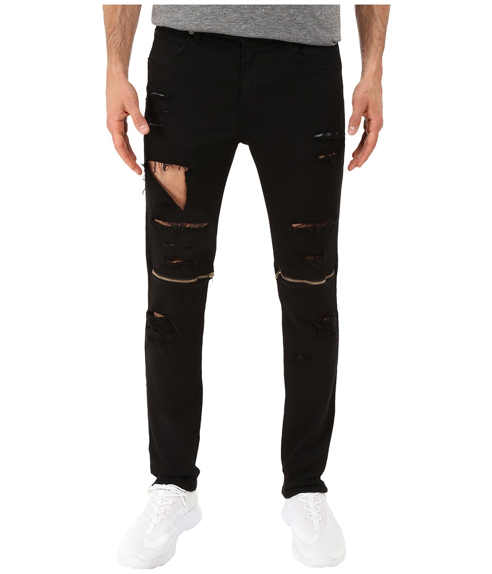Rustic Dime - Knee-Zip Taper Fit in Black Sliced (Black Sliced) Men's Jeans