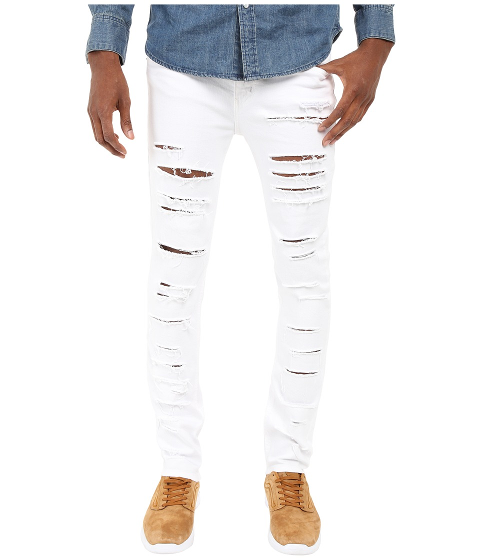 Rustic Dime - Shredded Taper Fit in White (White) Men's Jeans