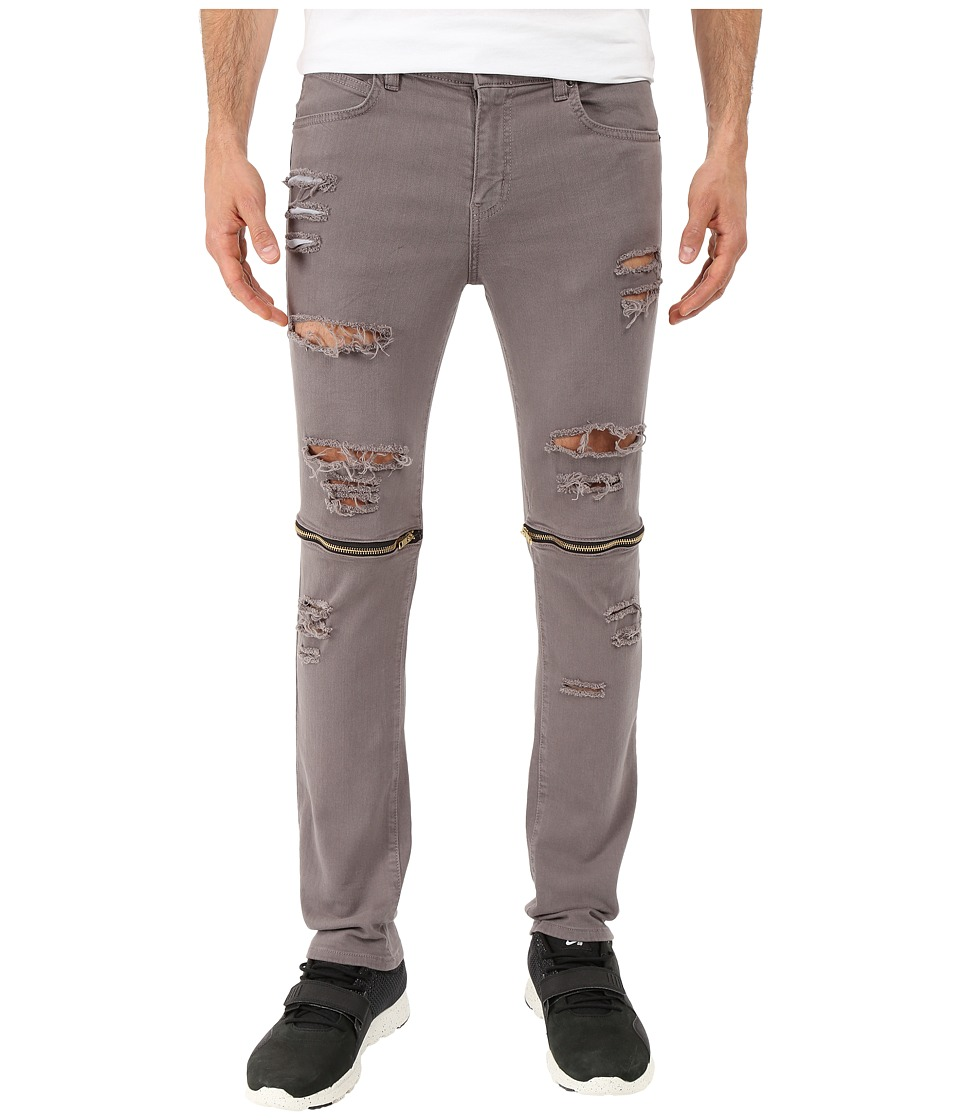 Rustic Dime - Knee-Zip Taper Fit in Grey Sliced (Grey Sliced) Men's Jeans