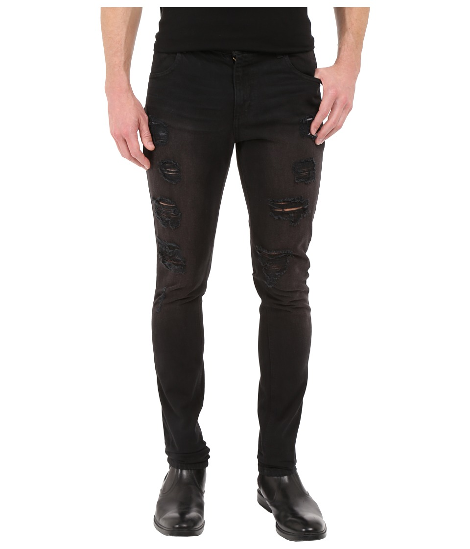 Rustic Dime - Ripped Taper Fit in Ash Black (Ash Black) Men's Jeans