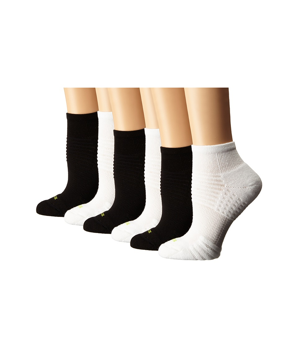 HUE - Air Cushion 6-Pair Pack Quarter Top 3D Sole (White/Black) Women's Quarter Length Socks Shoes