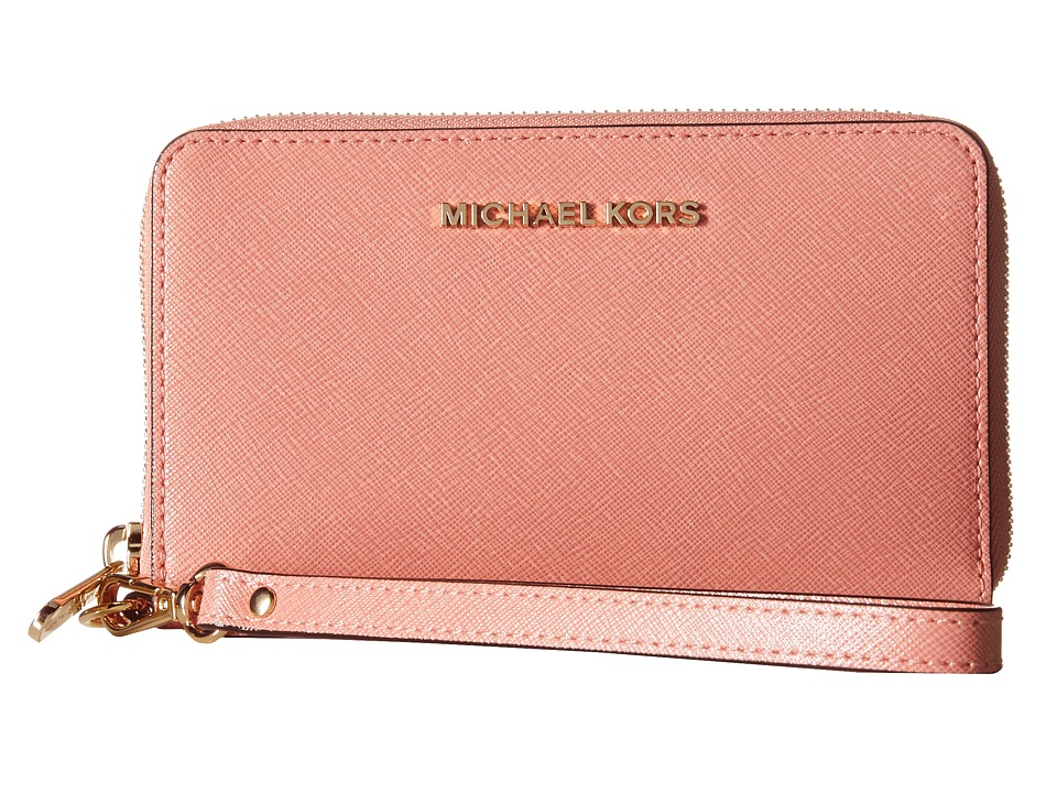 MICHAEL Michael Kors - Jet Set Travel Large Flat Multifunction Phone Case (Peach) Cell Phone Case