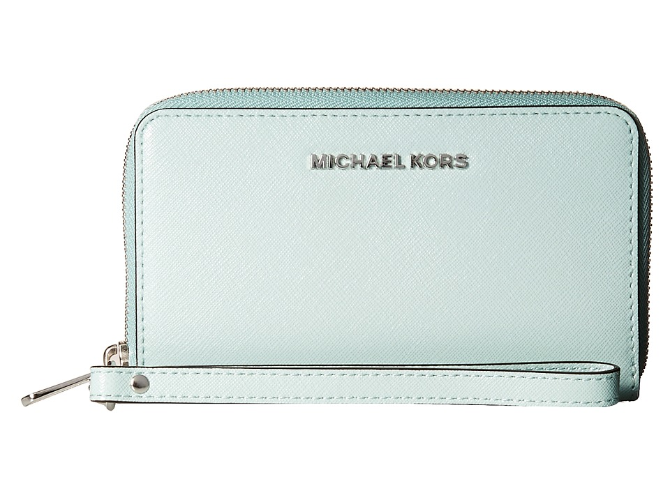 MICHAEL Michael Kors - Jet Set Travel Large Flat Multifunction Phone Case (Celadon) Cell Phone Case