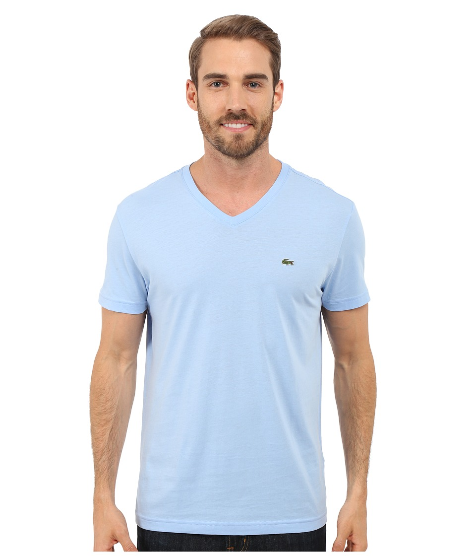 Lacoste - S/S Pima Jersey V-Neck T-Shirt (Nattier Blue 07E) Men's Short Sleeve Pullover