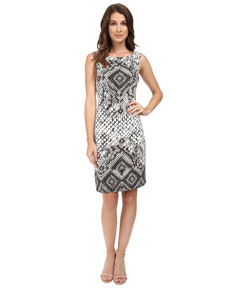 Hale Bob Animal Intuition Dress with Strappy Detail At Back (Black/White) Women