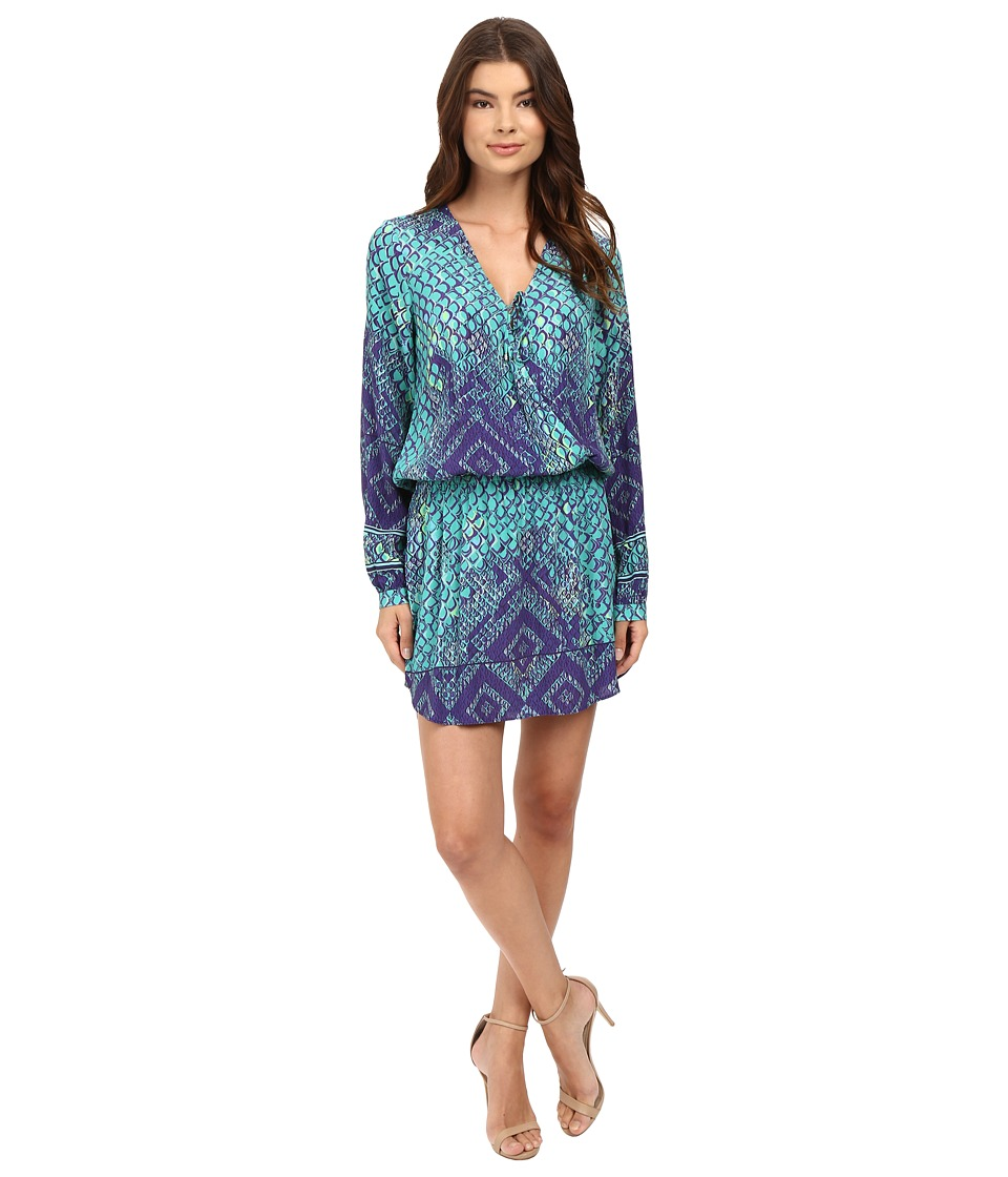 Hale Bob - Animal Intuition Dress with Tie (Teal) Women's Dress