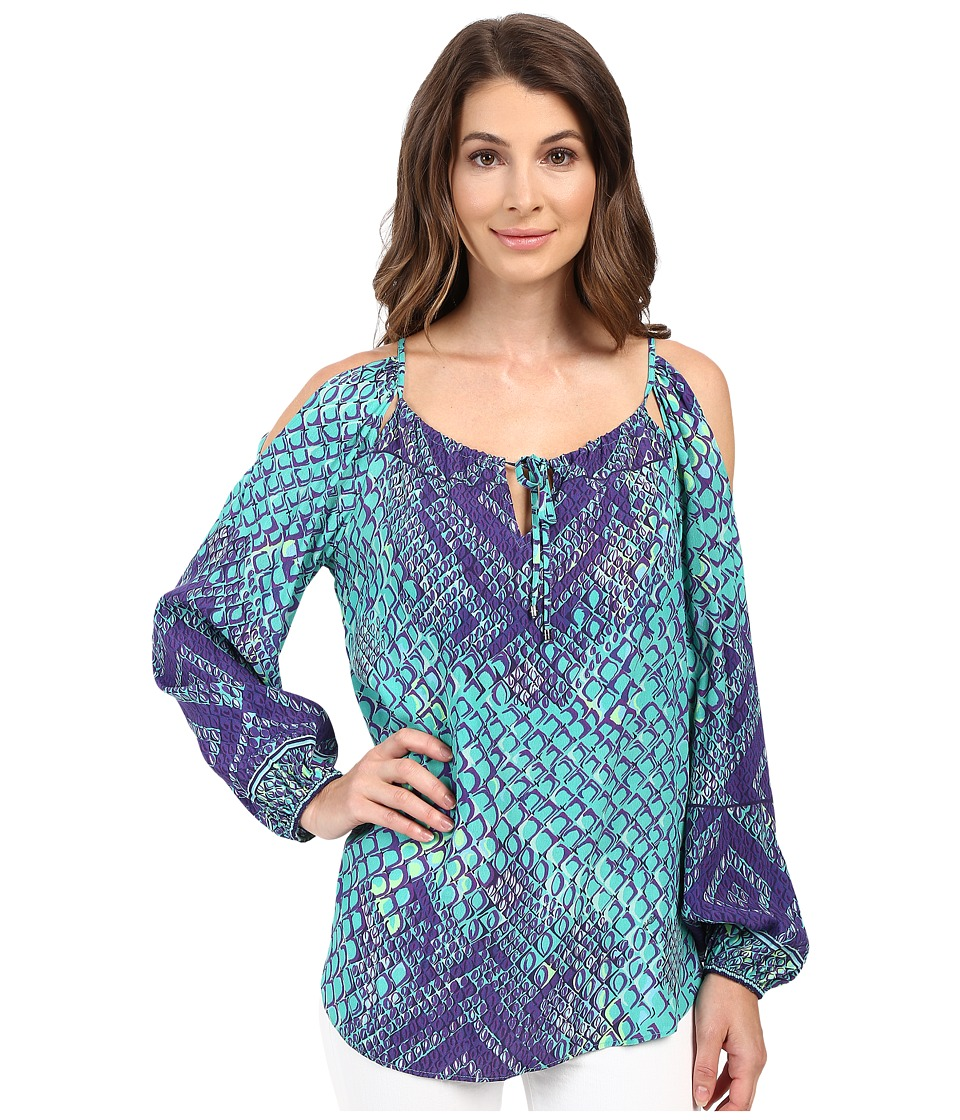 Hale Bob - Animal Intuition Long Sleeve Blouse with Keyhole Detail (Teal) Women's Blouse