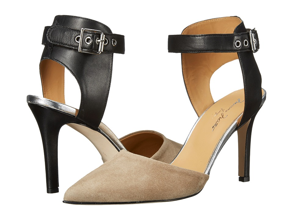 Massimo Matteo Pump with Ankle Strap (Black Leather/Lava Suede) High Heels
