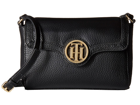 Tommy Hilfiger - Maggie-Flap Crossbody-Pebble Leather (Black) Cross Body Handbags
