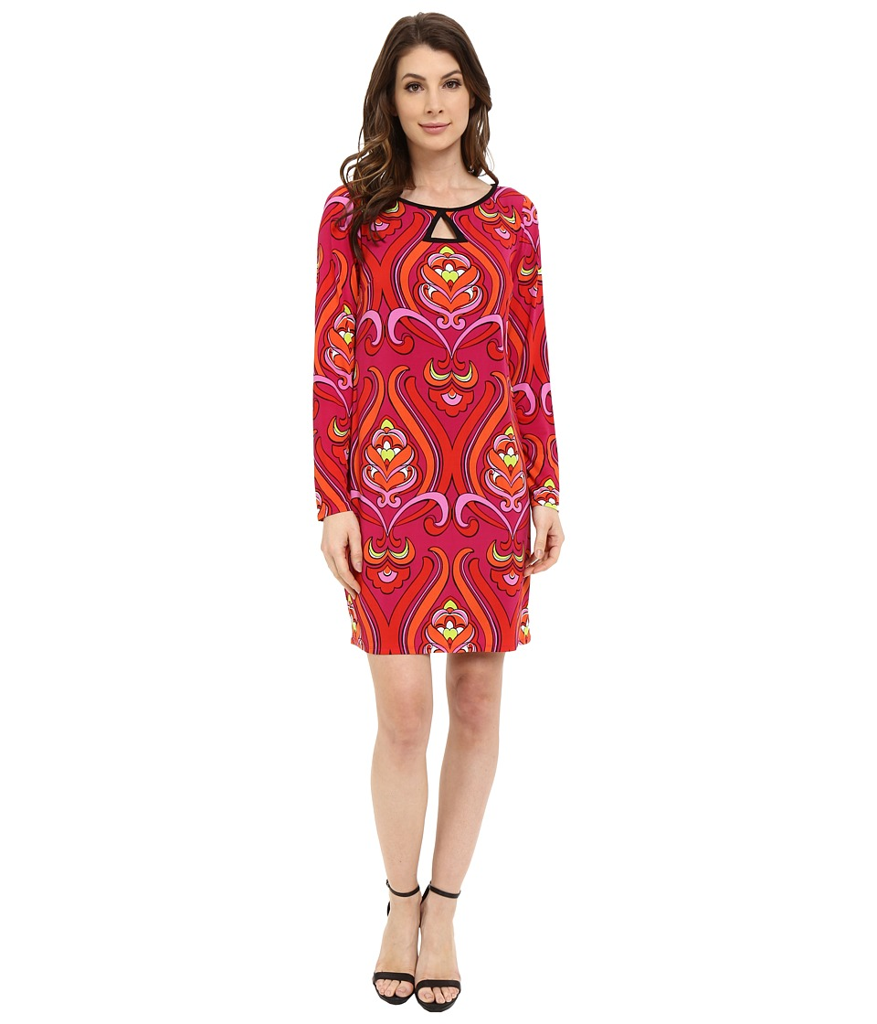 Laundry by Shelli Segal - Long Sleeve Key Hole Print Dress (Red Orange) Women's Dress