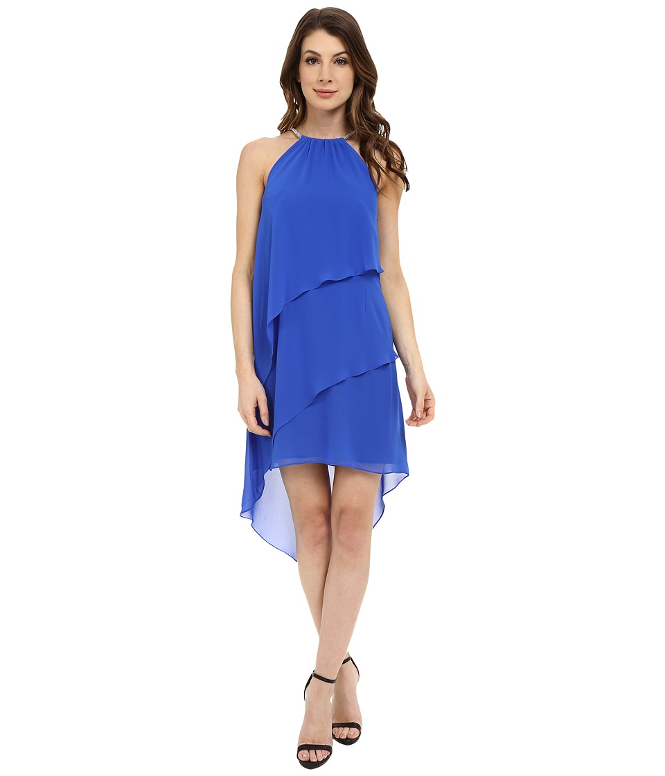 Laundry by Shelli Segal - Embellished Neck Tiered Asymmetrical Hem Dress (Bright Blue) Women's Dress