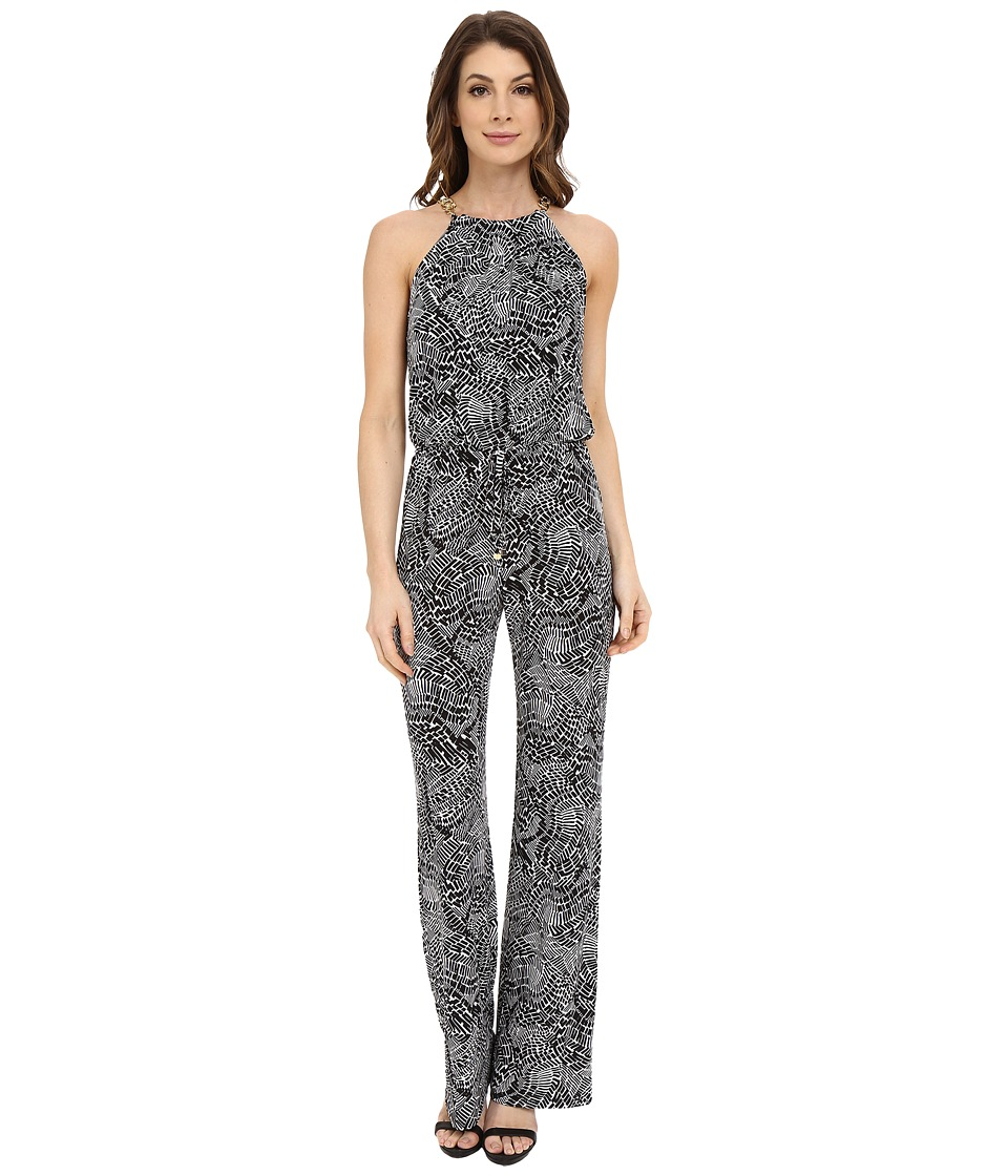 Laundry by Shelli Segal - Printed Matte Jersey Jumpsuit with Chain Neck (Black) Women's Jumpsuit & Rompers One Piece