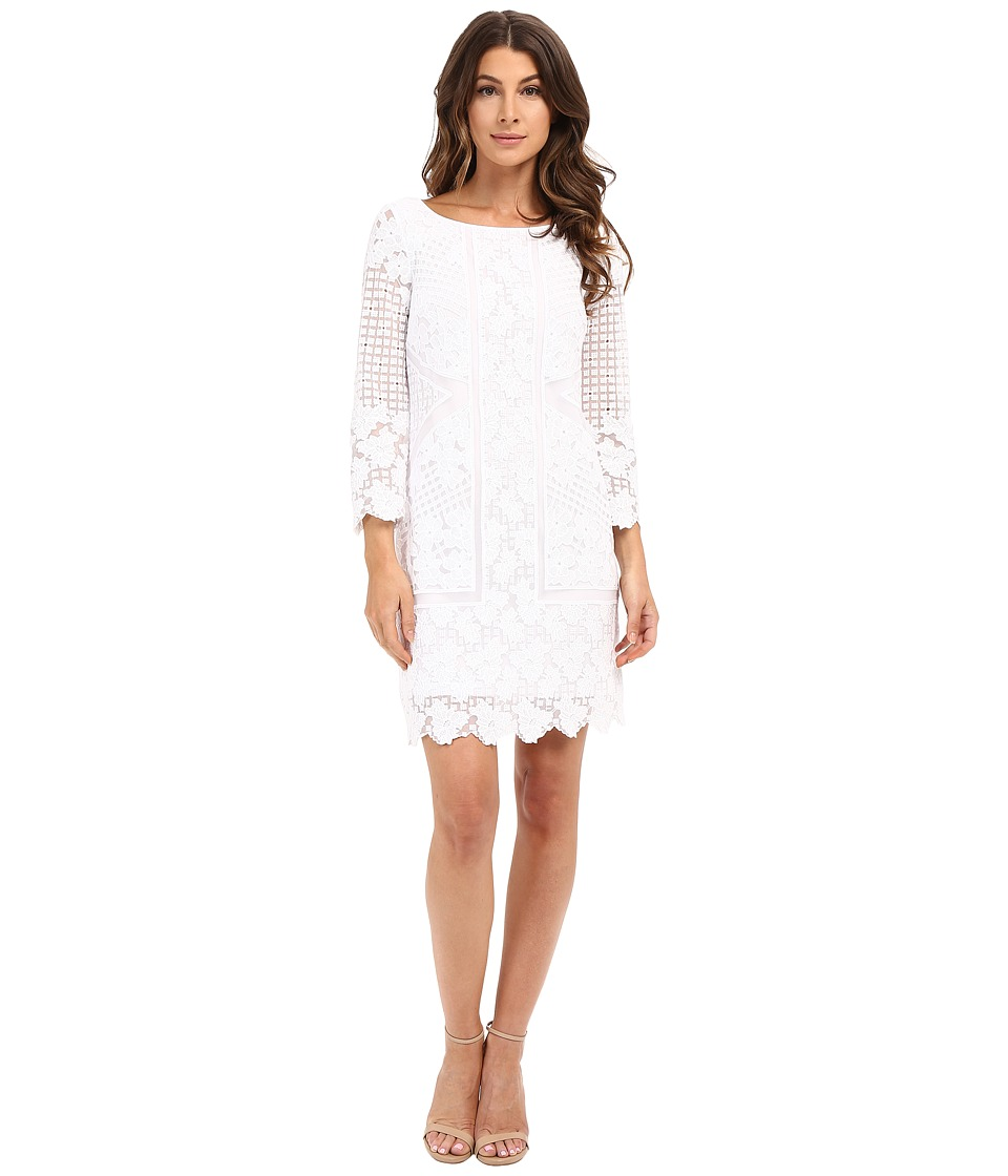 Laundry by Shelli Segal - 3/4 Sleeve Embroidered Mesh Dress (Optic White) Women's Dress