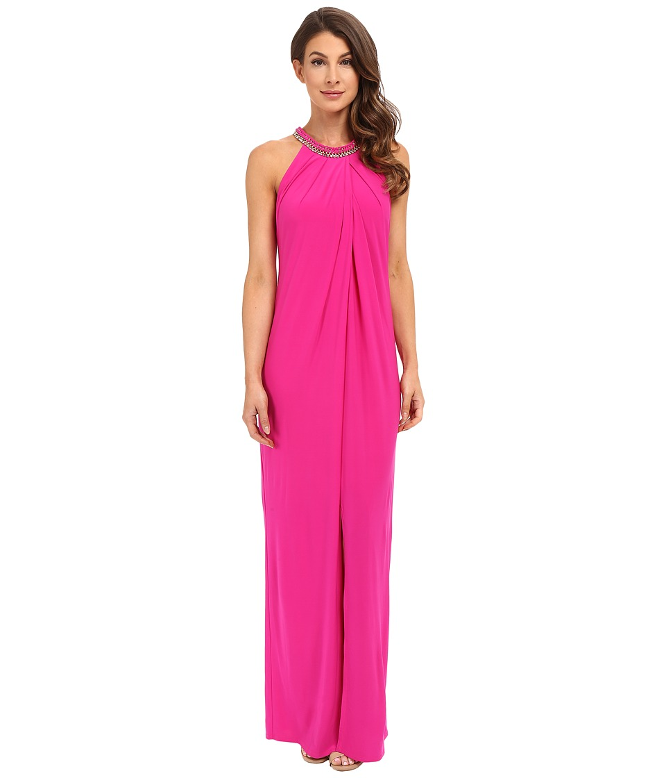 Laundry by Shelli Segal Matte Jersey Sleeveless Gown (Electric Pink) Women