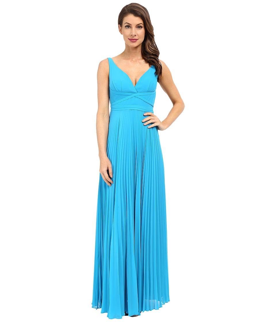 Laundry by Shelli Segal Pleated Chiffon Open Back Gown (True Blue) Women