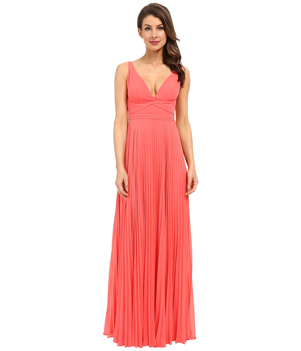 Laundry by Shelli Segal - Pleated Chiffon Open Back Gown (Calypso Coral) Women's Dress