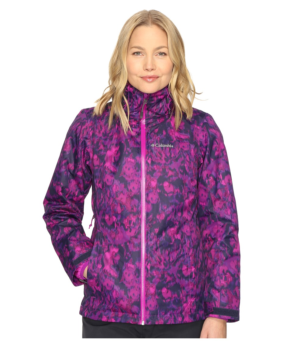 Columbia - Whirlibird Interchange Jacket (Bright Plum Floral Print) Women's Coat