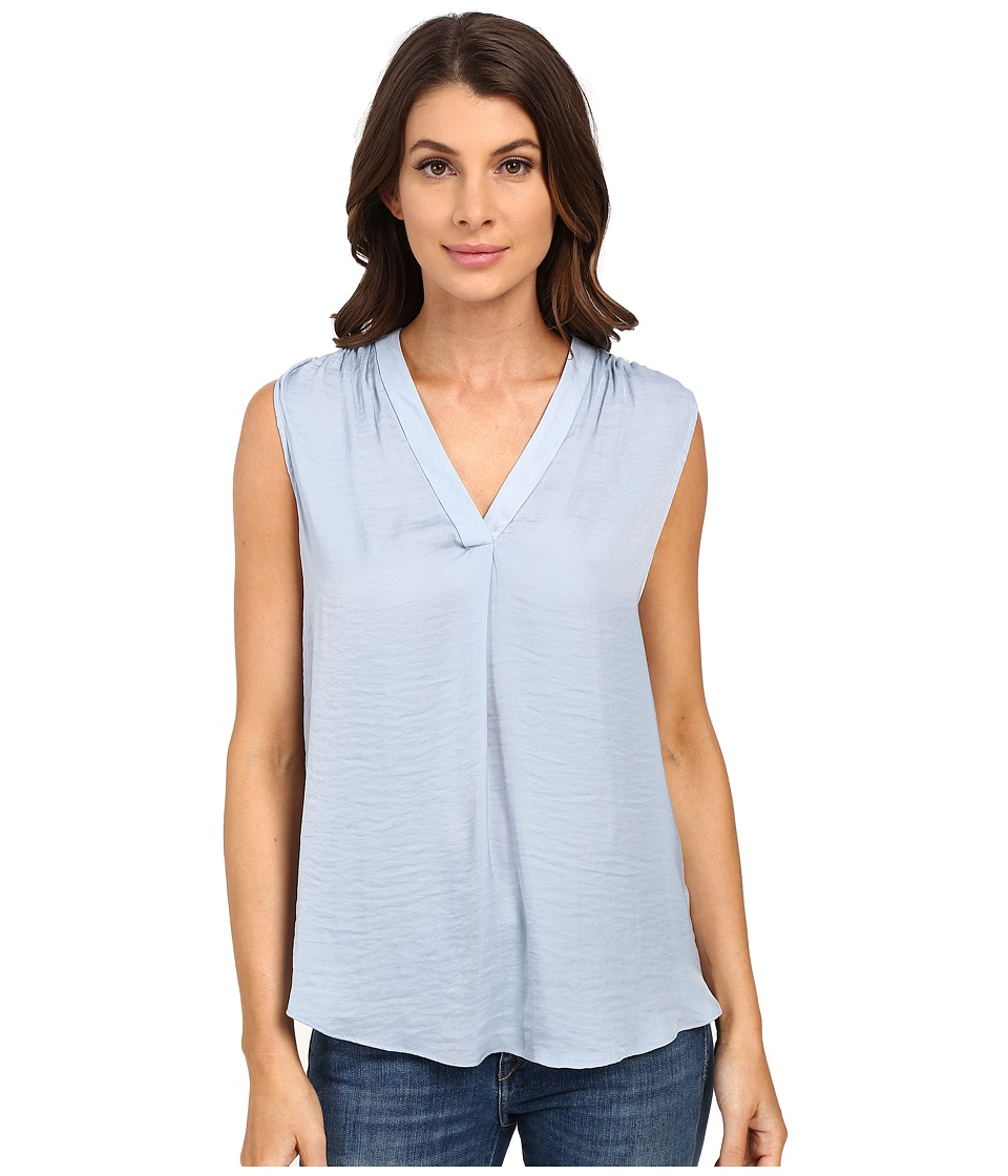 Vince Camuto - Sleeveless V-Neck Rumple Blouse (Mineral Lake) Women's Blouse