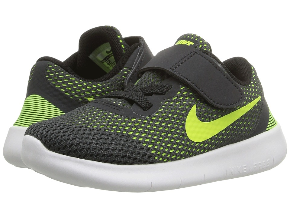 Nike Kids - Free RN (Infant/Toddler) (Anthracite/Black/White/Volt) Boys Shoes