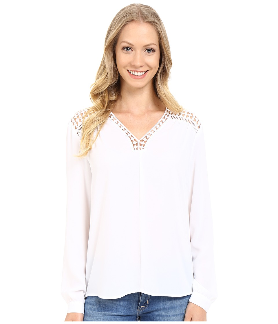 Vince Camuto - Long Sleeve V-Neck Blouse w/ Lace Trim (Ultra White) Women's Blouse