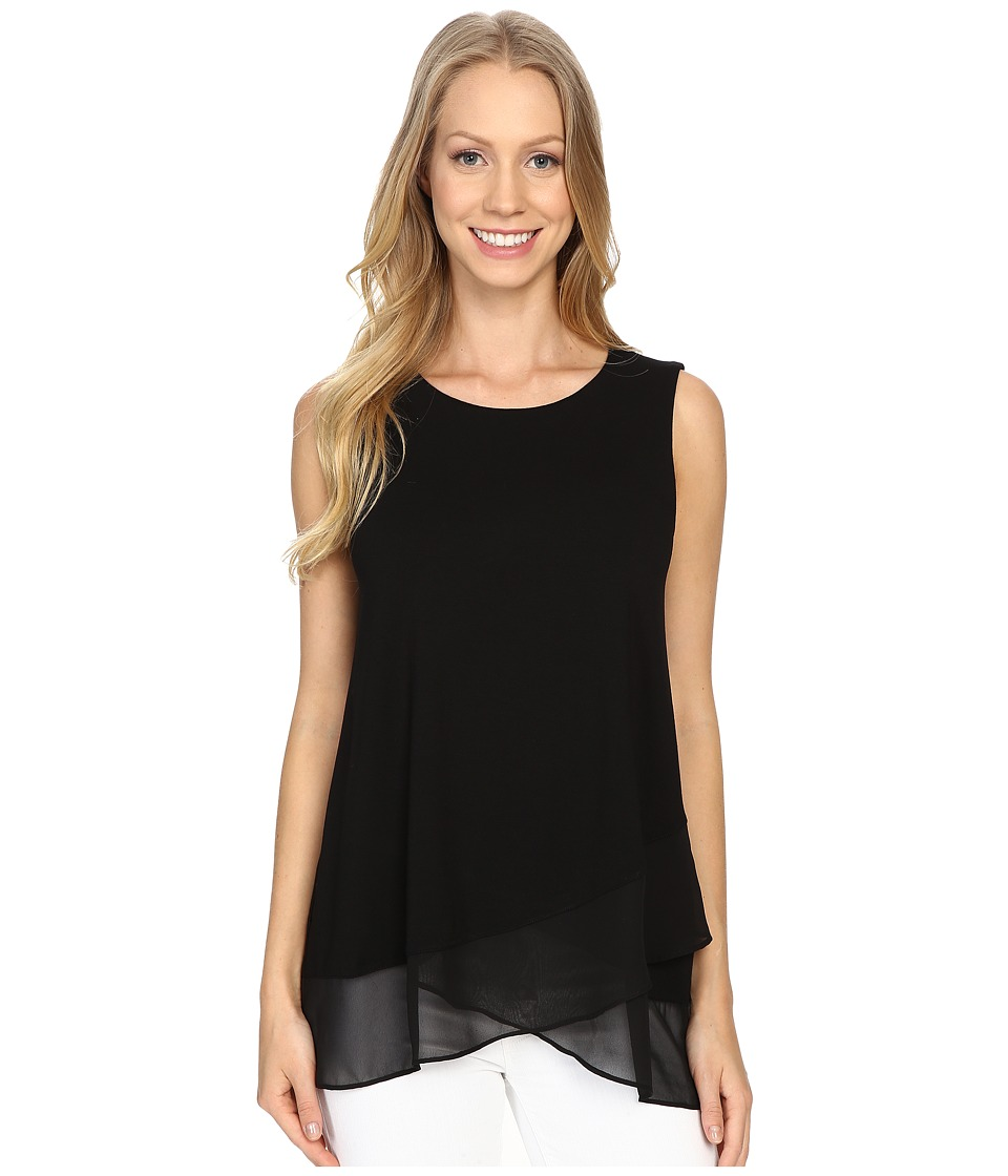 Vince Camuto - Sleeveless Top w/ Asymmetrical Chiffon Hem (Rich Black) Women's Blouse