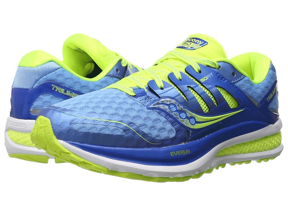 Saucony - Triumph ISO 2 (Blue/Light Blue/Citron) Women's Shoes