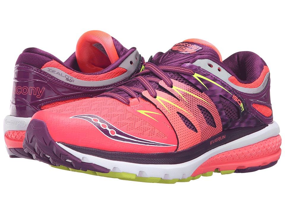 Saucony - Zealot ISO 2 (Vizicoral/Purple/Citron) Women's Running Shoes