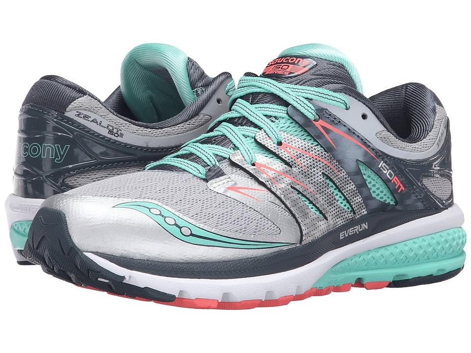 Saucony - Zealot ISO 2 (Silver/Mint/Coral) Women's Running Shoes