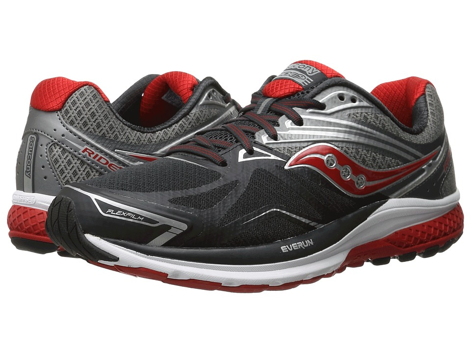 Saucony - Ride 9 (Grey/Charcoal/Red) Men's Running Shoes