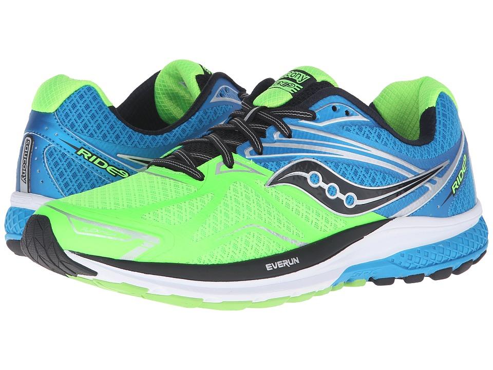 Saucony - Ride 9 (Slime/Blue/Black) Men's Running Shoes