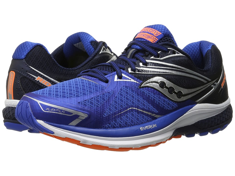 Saucony - Ride 9 (Grey/Blue/Orange) Men's Running Shoes