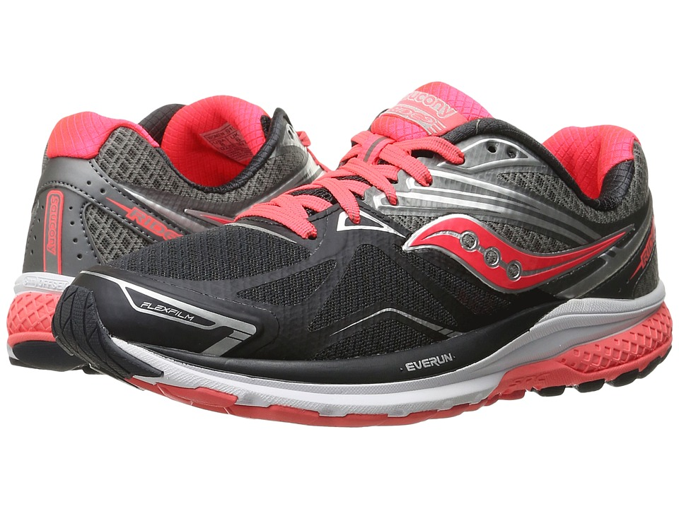 Saucony - Ride 9 (Grey/Charcoal/Coral) Women's Running Shoes