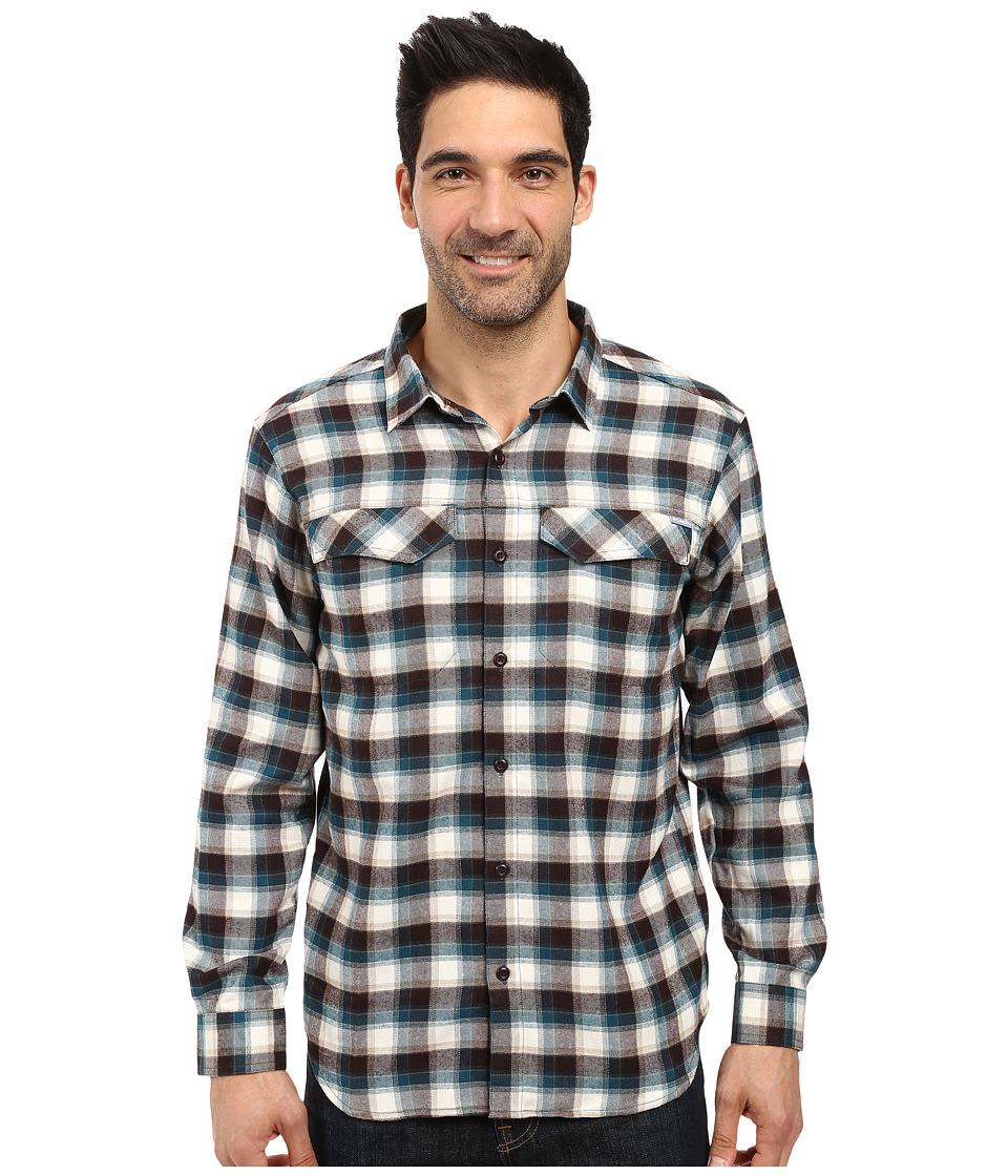 Columbia - Silver Ridge Flannel Long Sleeve Shirt (Deep Water Mid Plaid) Men's Long Sleeve Button Up