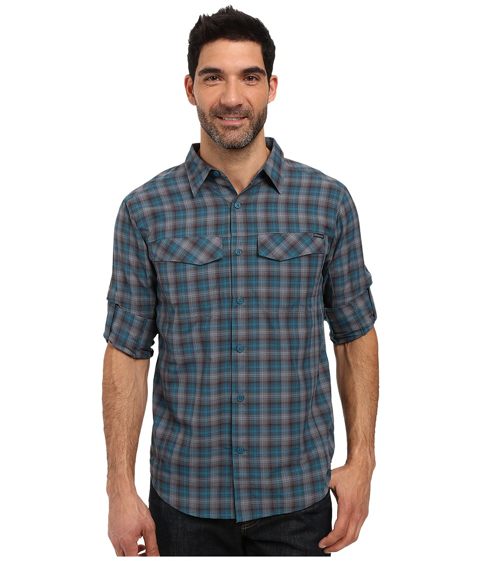 Columbia - Silver Ridge Plaid L/S (Deep Water Ripstop) Men's Long Sleeve Button Up