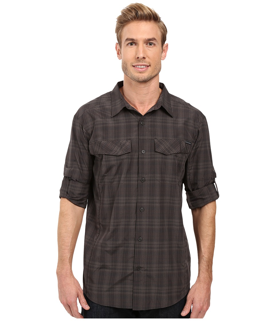Columbia Silver Ridge Plaid L-S Black Mid Plaid Mens Long Sleeve Button Up