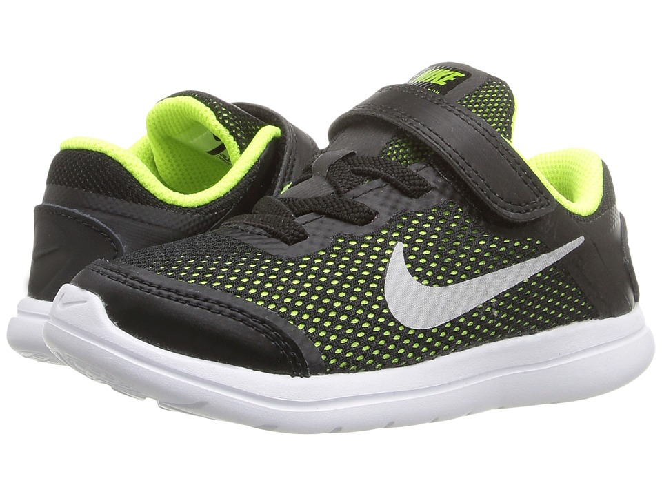 Nike Kids - Flex 2016 RN (Infant/Toddler) (Black/Volt/White/Metallic Silver) Boys Shoes