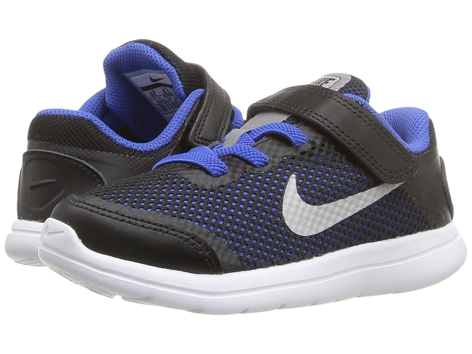 Nike Kids - Flex 2016 RN (Infant/Toddler) (Black/Game Royal/White/Metallic Silver) Boys Shoes